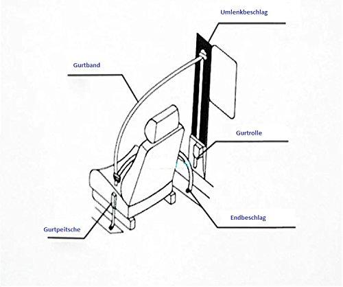 3 Punkt Automatikgurt Universal Sicherheitsgurt 3700mm mit Gurtpeitsche - 3