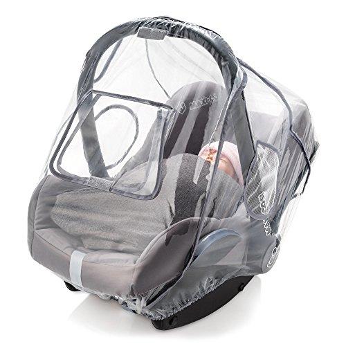 Universal Komfort Regenschutz für Babyschale (z.B. Maxi-Cosi / Cybex / Römer) | gute Luftzirkulation, verschließbares Kontakt-Fenster, Eingriffsöffnung für Tragegriff, PVC-frei - 2