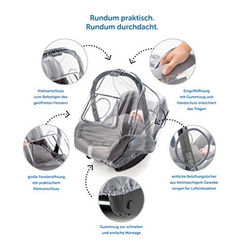 Universal Komfort Regenschutz für Babyschale (z.B. Maxi-Cosi / Cybex / Römer) | gute Luftzirkulation, verschließbares Kontakt-Fenster, Eingriffsöffnung für Tragegriff, PVC-frei - 7