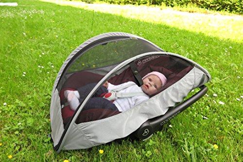 3 in 1 Bezug - Sonnenschutz mit Regenschutz und Insektennetz - Universell passendes Regenverdeck / Sonnenblende (Grau) - 5