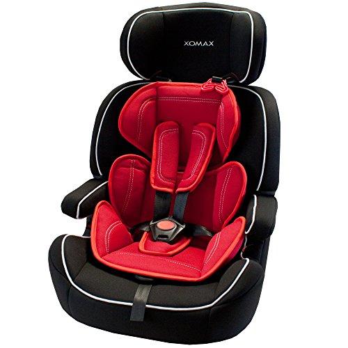 XOMAX XM-K5 RED BLACK Autokindersitz + Gruppe I / II / III (9 - 36 kg) + ECE R44/04 geprüft + Farbe: Schwarz / Rot + mitwachsend + 5-Punkte-Sicherheitsgurt + Kopfstütze verstellbar + Rückenlehne abnehmbar / Bezüge abnehmbar & waschbar - 2