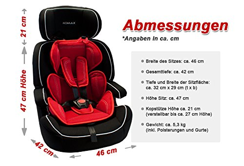 XOMAX XM-K5 RED BLACK Autokindersitz + Gruppe I / II / III (9 - 36 kg) + ECE R44/04 geprüft + Farbe: Schwarz / Rot + mitwachsend + 5-Punkte-Sicherheitsgurt + Kopfstütze verstellbar + Rückenlehne abnehmbar / Bezüge abnehmbar & waschbar - 7