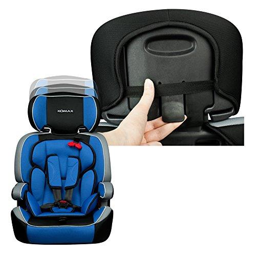 XOMAX XM-K4 BLUE Kindersitz 9-36 kg, Gruppe I / II / III, ECE R44/04 geprüft, Farbe: Blau, Schwarz, Grau + mitwachsend + 5-Punkte-Sicherheitsgurt + Kopfstütze verstellbar + Rückenlehne abnehmbar / Bezüge abnehmbar & waschbar - 5