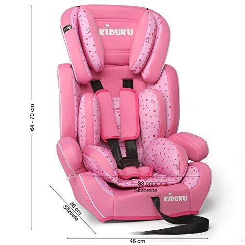 KIDUKU® Autokindersitz Kindersitz Kinderautositz, Sitzschale, universal, zugelassen nach ECE R44/04, in 6 verschiedenen Farben, 9 kg - 36 kg 1 - 12 Jahre, Gruppe 1 / 2 / 3 (Rosa/Pink) - 2