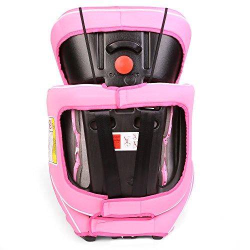 KIDUKU® Autokindersitz Kindersitz Kinderautositz, Sitzschale, universal, zugelassen nach ECE R44/04, in 6 verschiedenen Farben, 9 kg - 36 kg 1 - 12 Jahre, Gruppe 1 / 2 / 3 (Rosa/Pink) - 5
